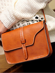 cheap -Women's PU Leather Crossbody Bag Leather Bag Solid Color Wine / Brown / Fall & Winter