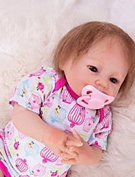 cheap -Reborn Doll Girl Doll Baby Girl 18 inch Silicone - Newborn lifelike Hand Made Child Safe Non Toxic Hand Rooted Mohair Kid's Girls' Toy Gift / Artificial Implantation Brown Eyes