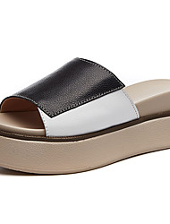 cheap -Women's Sandals Creepers Cowhide Comfort Spring & Summer Black / White