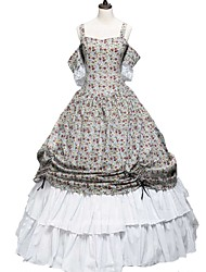 cheap -Cosplay Lolita Victorian Costume Women's Dress Party Costume Print Vintage Cosplay 50% Cotton / 50% Polyester Pure Cotton Short Sleeve Cold Shoulder