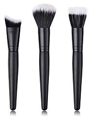 abordables -Professionnel Pinceaux à maquillage ensembles de brosses 3-Paquet Economique Doux Bois / bambou pour