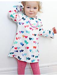 cheap -Kids Girls' Basic Daily Floral Print Long Sleeve Asymmetrical Dress White / Cotton