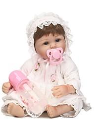 Недорогие -NPKCOLLECTION NPK DOLL Куклы реборн Кукла для девочек Девочки 18 дюймовый Силикон - как живой Очаровательный Безопасно для детей Non Toxic / Искусственные имплантации Голубые глаза