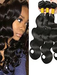 cheap -3 Bundles Indian Hair Wavy Human Hair Natural Color Hair Weaves / Hair Bulk Human Hair Extensions 8-28 inch Natural Color Human Hair Weaves Fashionable Design Best Quality For Black Women Human Hair
