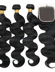 cheap -3 Bundles with Closure Peruvian Hair Wavy Human Hair Natural Color Hair Weaves / Hair Bulk Extension Hair Weft with Closure 8-22 inch Natural Natural Color Human Hair Weaves Best Quality Hot Sale