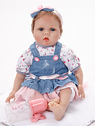 cheap -FeelWind Reborn Doll Girl Doll Baby Girl 22 inch lifelike Hand Made Child Safe Non Toxic Hand Rooted Mohair Artificial Implantation Blue Eyes Kid's Girls' Toy Gift