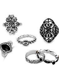 cheap -Men Statement Ring Black Gemstone Hollow Silver Alloy Cowboy Hip-Hop Ancient Greek 6pcs Adjustable / Men's / Rings Set