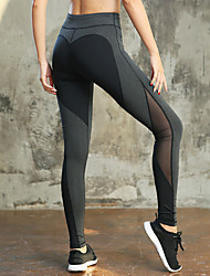 cheap -Women's High Waist Running Tights Leggings Yoga Pants Athletic Tights Leggings Patchwork Mesh Fitness Gym Workout Running Exercise Tummy Control Butt Lift Quick Dry Plus Size Sport Black Grey Black