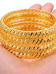 cheap -4pcs Women's Bracelet Bangles Cuff Bracelet Sculpture Ladies Ethnic Dubai Italian Gold Plated Bracelet Jewelry Gold / Yellow For Party Gift