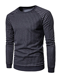 abordables -Homme Col Arrondi Manches Longues Sweatshirt Rayé