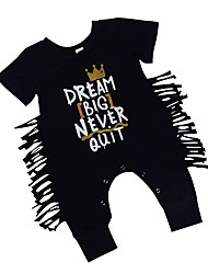 cheap -Baby Boys' Active / Basic Daily Solid Colored Tassel Short Sleeves Cotton Romper Black / Toddler