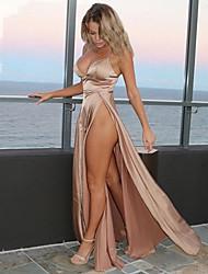 cheap -Split Party Beach Sexy Maxi Skinny Swing Dress Solid Colored Backless Deep V Cotton Khaki M L XL
