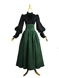 cheap -Princess Rococo Victorian Medieval Wasp-Waisted Dress Outfits Women's Costume Green / Black Vintage Cosplay Long Sleeve Ankle Length Plus Size Customized
