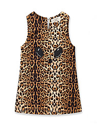 cheap -Baby Girls' Vintage / Sophisticated Daily / Holiday Leopard Print Sleeveless Above Knee Dress Brown / Toddler