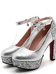 cheap -Women's Heels Party Heels Chunky Heel Round Toe Rhinestone PU Basic Pump Summer Gold / Red / Silver / Wedding / Party & Evening / Party & Evening / EU42