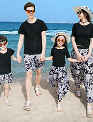 Недорогие -Взрослые Семейный вид Богемный Повседневные Цветочный принт С короткими рукавами Футболка Черный