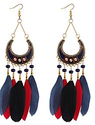 cheap -Women's Drop Earrings Long Feather Ladies Vintage Ethnic Fashion Native American Rhinestone Feather Earrings Jewelry Rainbow / Red / Blue For Party / Evening Going out 1 Pair