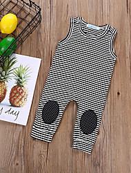 cheap -Baby Girls' Basic Daily Striped Sleeveless Cotton Romper Black