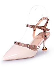cheap -Women's Sandals Kitten Heel Pointed Toe Rivet PU Slingback Summer Red / Pink / Black / Party & Evening / Party & Evening / EU39