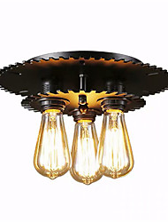 cheap -3-Light 3-Head Vintage Black Metal Semi Flush Mount Ceiling Light Living Room Dining Room Lighting Painted Finish