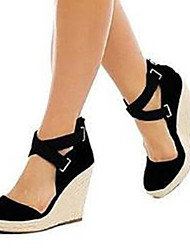 cheap -Women's Sandals Wedge Sandals Spring & Summer Wedge Heel Open Toe D'Orsay & Two-Piece Basic Pump Party & Evening Office & Career Solid Colored Suede Black / Blue / EU42