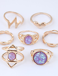 cheap -Women's Ring Set Midi Rings Stackable Rings Opal Moonstone 7pcs Gold Resin Alloy Geometric Ladies Vintage European Daily Jewelry Hollow Heart Heart