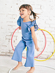cheap -Baby Girls' Active / Basic Daily / Going out Solid Colored Pure Color Short Sleeves Overall & Jumpsuit Light Blue / Toddler