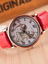 cheap -Women's Wrist Watch World Map Quartz Leather Black / Red / Brown Casual Watch Analog Ladies Fashion World Map - Light Black Brown Red