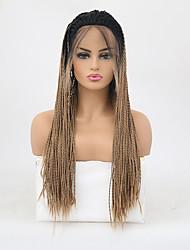 abordables -Perruque Lace Front Synthétique Box Braids Tressage Lace Frontale Perruque Blond Long Noir / Blond Fraise Cheveux Synthétiques 24 pouce Femme Ajustable Résistant à la chaleur Homme Blond