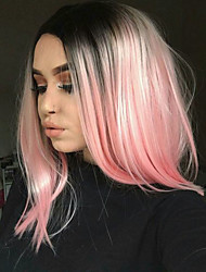 cheap -Synthetic Wig Straight Kardashian Straight Bob Wig Short Brown Grey Pink Green Synthetic Hair Women's Middle Part Bob Ombre Hair Dark Roots Black