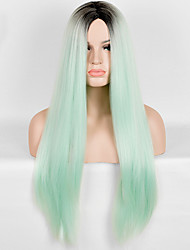 cheap -european and american fashion high temperature green color straight wig