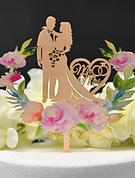 cheap -Cake Topper Classic Theme / Wedding Cut Out Wooden / Bamboo Wedding / Anniversary with Sided Hollow Out 1 pcs OPP