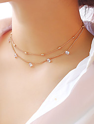cheap -Women's Choker Necklace Layered Necklace Layered Double Floating Star Ladies Fashion Elegant Alloy Gold Silver 30 cm Necklace Jewelry 1pc For Party / Evening Engagement Gift