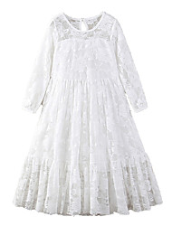 cheap -Kids Girls' Active Sweet Holiday Going out Solid Colored Lace Bow Embroidered 3/4 Length Sleeve Maxi Dress White / Mesh