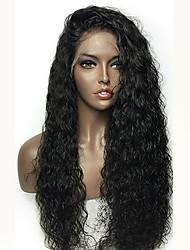 Недорогие -человеческие волосы Remy Лента спереди Парик Стрижка каскад Rihanna стиль Бразильские волосы Кудрявый Черный Парик 180% Плотность волос с детскими волосами Природные волосы Жен. Длинные