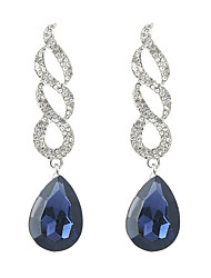 cheap -Women's Crystal Drop Earrings Hanging Earrings Long Drop Ladies Ethnic Fashion Rhinestone Earrings Jewelry White / Blue For Party Prom Promise 1 Pair