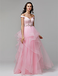 cheap -Ball Gown Plunging Neck Floor Length Satin / Tulle Elegant / Pastel Colors Prom / Formal Evening Dress with Beading / Ruffles 2020