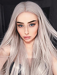 cheap -Synthetic Lace Front Wig Straight Middle Part Lace Front Wig Long Grey Synthetic Hair Women's Heat Resistant Women Fashion Gray