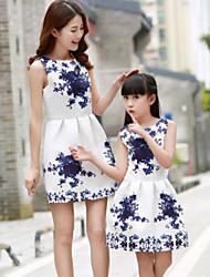 cheap -Girls' Active Daily Blue & White Polka Dot Sleeveless Dress Blushing Pink