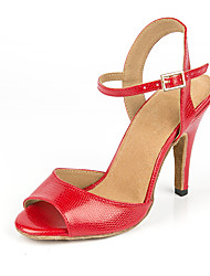 cheap -Women's Dance Shoes Faux Leather Latin Shoes Heel Slim High Heel Customizable Red / Performance / Practice