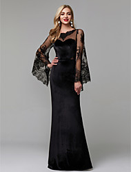 cheap -Sheath / Column Elegant Engagement Formal Evening Dress Illusion Neck Long Sleeve Floor Length Lace Velvet with Lace Insert 2020 / Illusion Sleeve