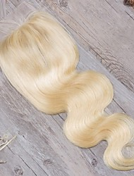 cheap -Guanyuwigs Brazilian Hair 4x4 Closure Wavy Free Part / Middle Part / 3 Part Swiss Lace Human Hair Women's with Baby Hair / Soft / Women Daily / Blonde / Blonde