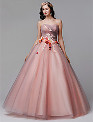 cheap -Ball Gown Floral Formal Evening Dress Strapless Sleeveless Floor Length Tulle with Pleats Flower 2021
