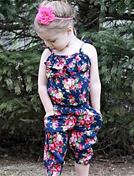 cheap -Toddler Girls' Active Basic Daily Holiday Floral Print Layered Ruched Print Sleeveless Overall & Jumpsuit Blue