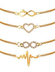 abordables -4pcs Chaînes Bracelets Parure Bracelet Femme Plaqué or Cœur Fréquence cardiaque dames Classique Mode Bracelet Bijoux Dorée pour Quotidien Bureau et carrière