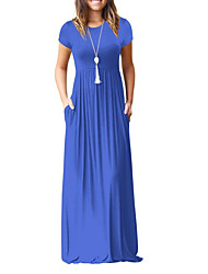 cheap -Women's Going out Maxi Swing Dress - Solid Colored High Waist Summer Wine Army Green Royal Blue L XL XXL