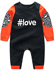 cheap -Baby Boys' Basic Daily Patchwork Patchwork Long Sleeve Cotton Romper Black