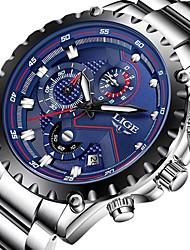 cheap -Men's Dress Watch Aviation Watch Japanese Quartz Stainless Steel Black / Silver 30 m Water Resistant / Waterproof Calendar / date / day Chronograph Analog Luxury Classic Fashion - Silver / Black