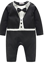 cheap -Baby Boys' Basic Solid Colored / Color Block Bow Long Sleeve Cotton Overall & Jumpsuit Black