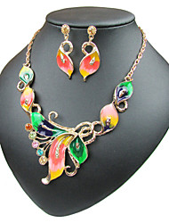 cheap -Women's Hoop Earrings Choker Necklace Pendant Necklace Cuban Link Cuban Butterfly Ladies Sweet Lolita Romantic Fashion Elegant Color Earrings Jewelry Rainbow / Red / Green For Daily Evening Party